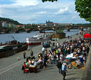 Prague farmers' market by the river in Prague