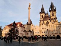 Old Town Square in Prague at Christmas in 2020