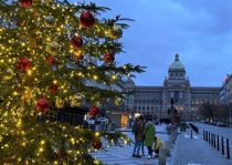 Wenceslas Square in Prague at Christmas in 2020